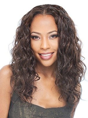 Long Curly No Bang African American Lace Wigs for Women 16 Inch