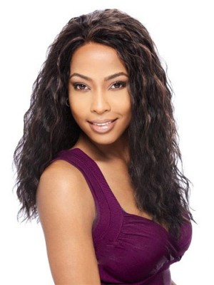 Sweety Long Curly Black No Bang African American Lace Wigs for Women