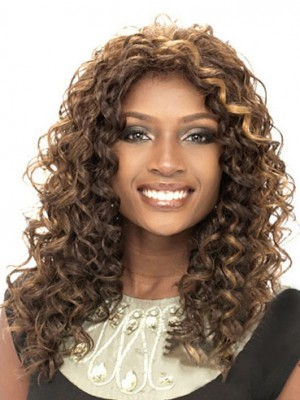 Natural Medium Curly African American Lace Wigs for Women 16 Inch