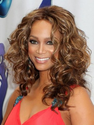 Online Long Curly African American Full Lace Wigs for Women 16 Inch