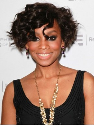 Natural Short Curly African American Full Lace Wigs for Women 8 Inch
