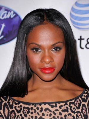 Glamorous Long Straight Black African American Full Lace Wig