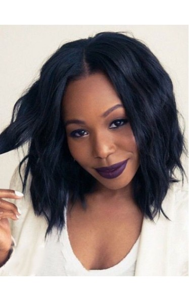 Medium Slight Wave Middle Parting Lace Front Synthetic African American Wigs