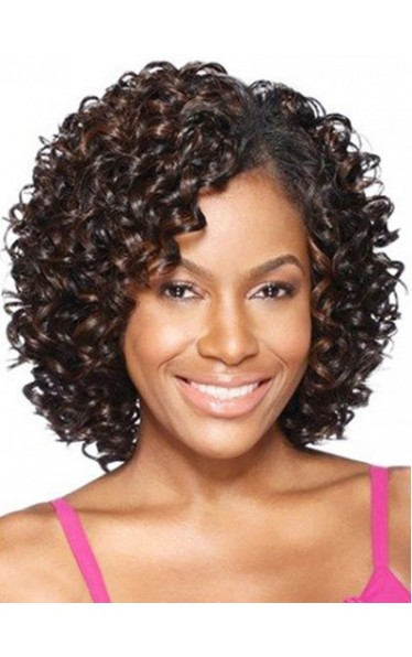 African American Kinky Curly Shoulder Length Synthetic Capless Women Wigs
