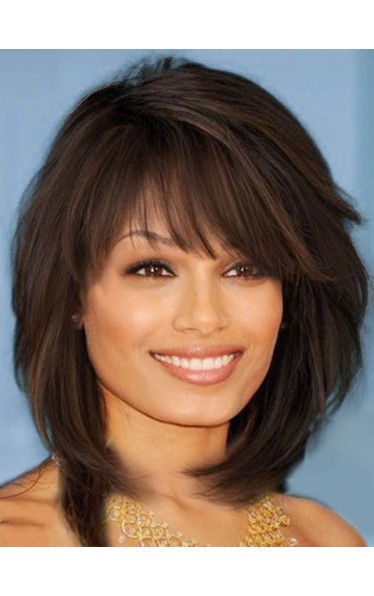 Sweet Layered Bob Hairstyle Straight Capless Synthetic African American Wigs