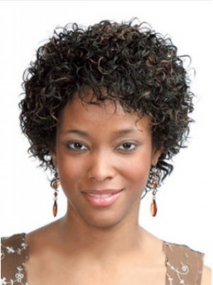 European Style Short Curly Side Bang African American Lace Wigs