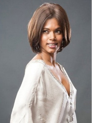 Gorgeous Short Straight No Bang African American Lace Wigs for Women