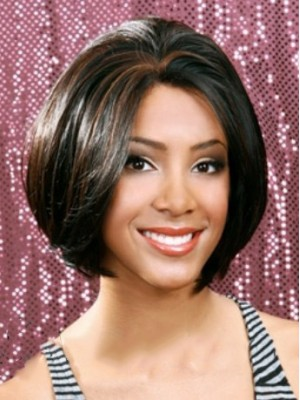 Shinning Short Straight Black No Bang African American Lace Wigs