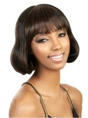 Impressive Short Wavy Full Bang African American Wigs for Women
