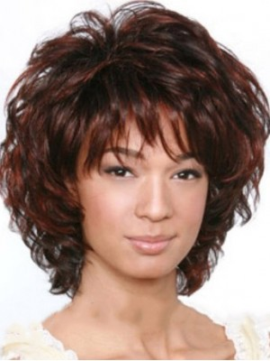 Cheap Colored Short Brown Side Bang African American Wigs for Women