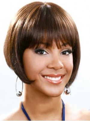Perfect Short Straight Full Bang African American Wigs for Women