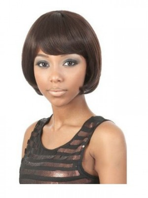Inexpensive Short Straight Full Bang African American Wigs for Women