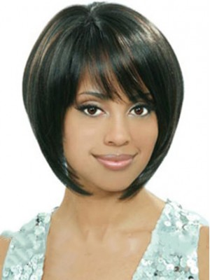 Black Short Straight Bob hairstyle  African American Wigs