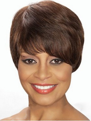 Graceful Short Straight Brown African American Wigs