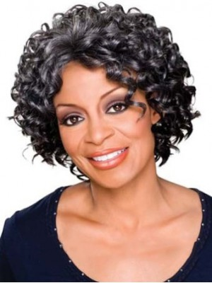 Dainty Short Curly Gray African American Lace Wigs