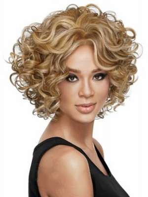 Wonderful Short Curly Blonde African American Lace Wigs