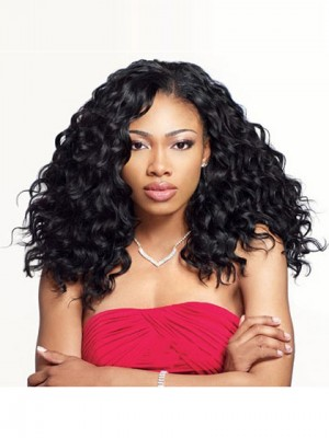 Grand Long Curly Black No Bang African American Lace Wigs