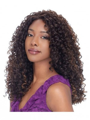 The Fresh Long Curly Sepia No Bang African American Lace Wigs