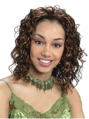 Stylish Medium Curly No Bang African American Lace Wigs for Women