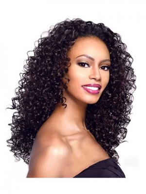 Unique Long Curly Black No Bang African American Lace Wig