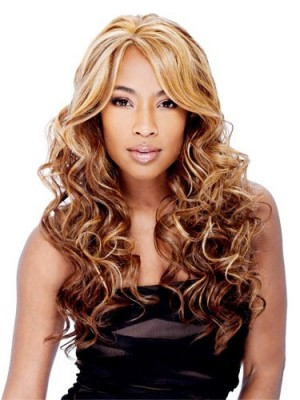 Adjustable Long Curly Side Bang African American Lace Wigs for Women