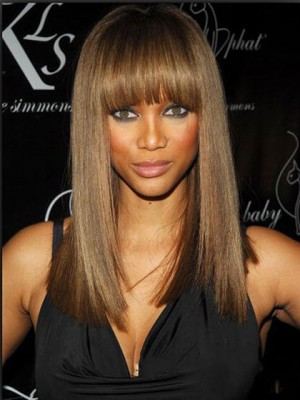 Fancy Long Straight Brown African American Wigs