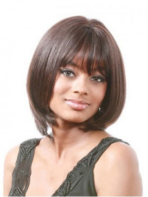 Gorgeous Short Straight Brown Full Bang African American Wigs