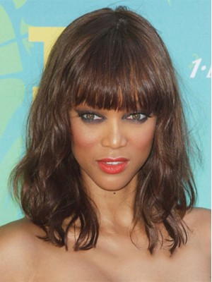 Ingenious Medium Wavy Brown African American Wigs