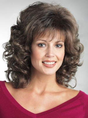 Soft Bouncy Curls Synthetic Mid-Length Wig