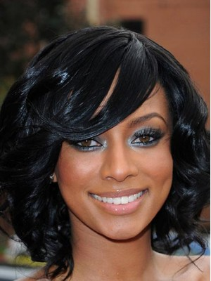 Black Medium Curly Hairstyle Lace Front Synthetic Wig