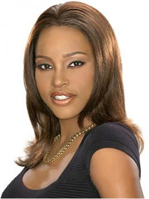 Medium Straight Brown African American Wig