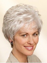 Beautiful Grey Synthetic Wigs For Mothers ... 7a4552f3c866