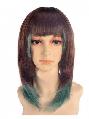 Cande Medium Brown Green Wig Cosplay