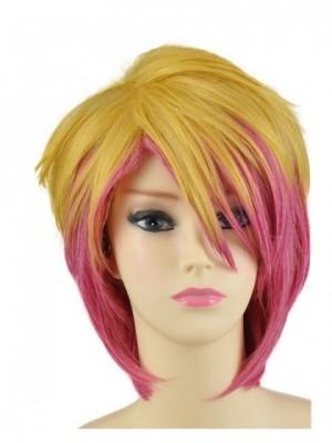 Rhodian Short Blonde Pink Wig Cosplay