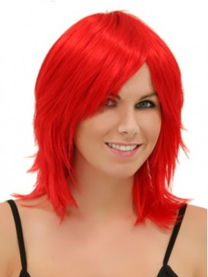14 Inches Shoulder Length Red Straight Capless Wig Cosplay