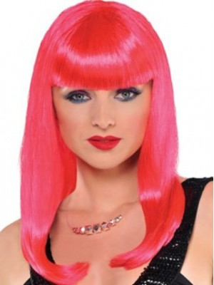 16 Inches Red Pink Straight Wig Cosplay