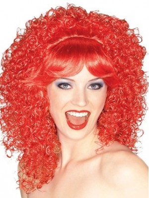 16 Inches Kinky Capless Red Wig Cosplay