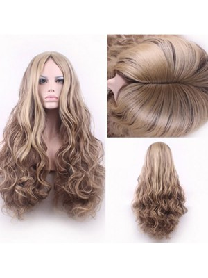 Light Blonde Mixed Brown Middle Part Cosplay Wig