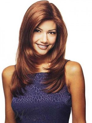 "18"" Top Quality Layered Straight Full Lace Human Hair Wig"
