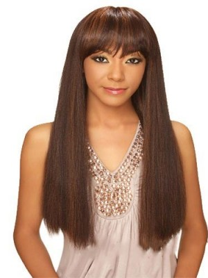 Hot Long Straight Full Bang African American Wigs