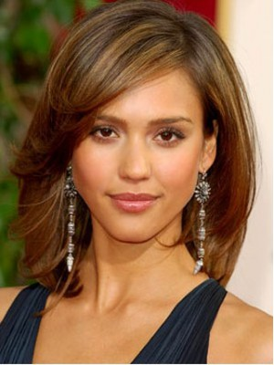 Jessica Alba Medium Straight Hairstyle Wig