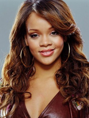 Rihanna Curly Synthetic Celebrity Wig