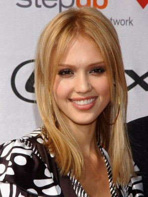 Jessica Alba Human Hair Straight Full Lace Wig