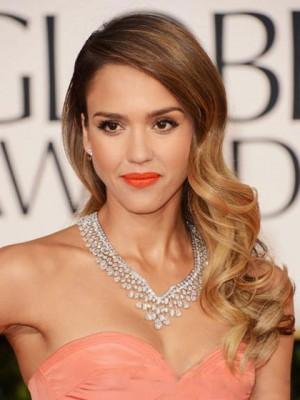 Jessica Alba Long Curly Dip Dye Synthetic Wig