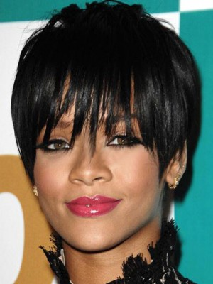 Rihanna Hairstyle Natural Black Short Straight Capless Wig
