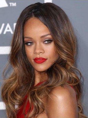 Rihanna Dip Dye Hairstyle Long Wavy Glueless Lace Wig
