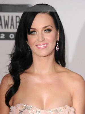 Wonderful Long Wavy Katy Perry Remy Human Hair Lace Front Wig
