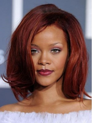 Fashion Medium Straight Rihanna Hairstyle Wig
