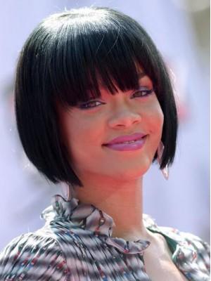 Sweet Short Straight Rihanna Hairstyle Remy Human Hair Full Lace