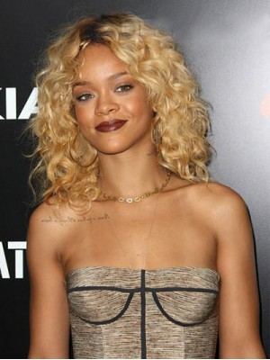 Sexy Medium Curly Rihanna Hairstyle Remy Human Hair Lace Front Wig